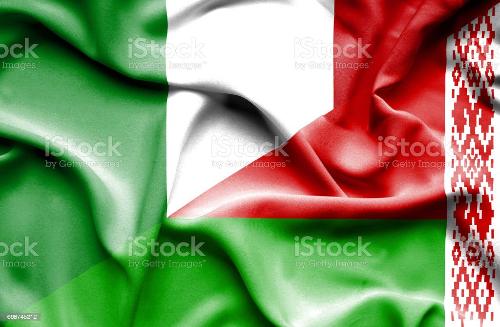 Waving flag of Belarus and Italy vector art illustration
