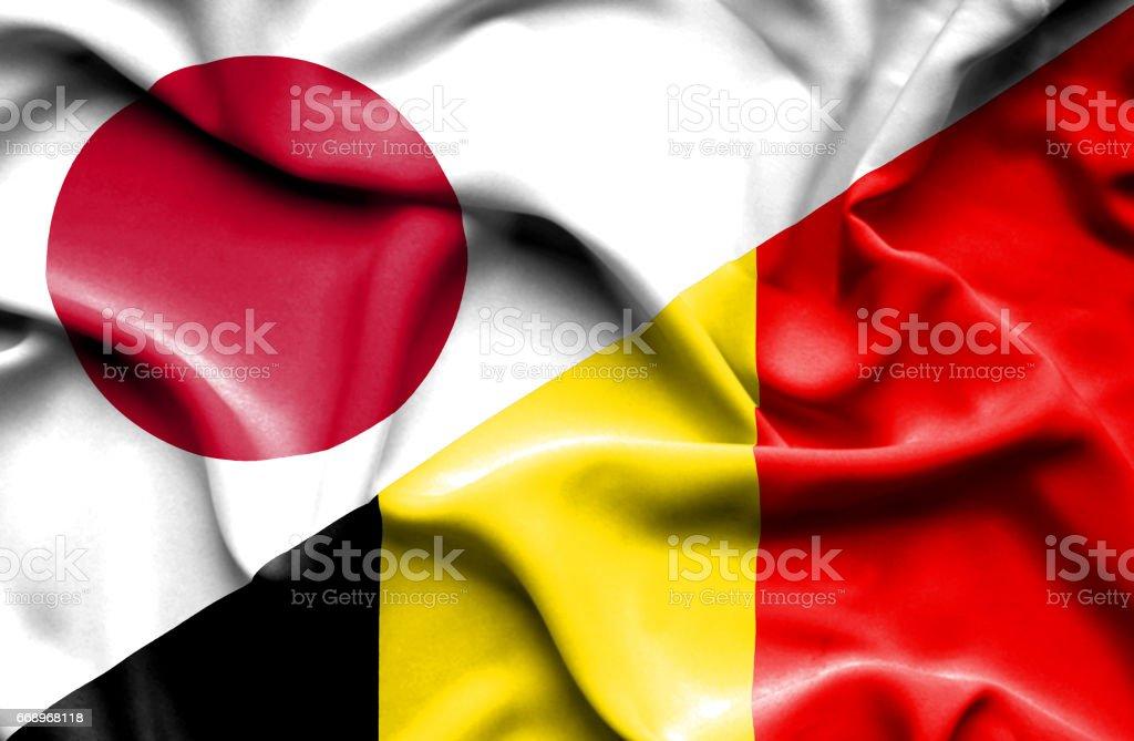 Waving flag of Belgium and Japan waving flag of belgium and japan - immagini vettoriali stock e altre immagini di accordo d'intesa royalty-free