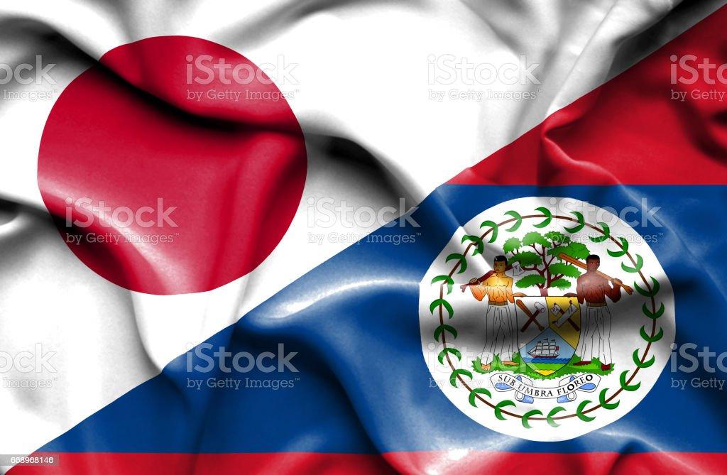 Waving flag of Belize and Japan waving flag of belize and japan - immagini vettoriali stock e altre immagini di accordo d'intesa royalty-free