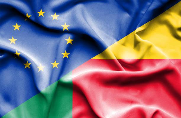 Waving flag of Benin and EU vector art illustration
