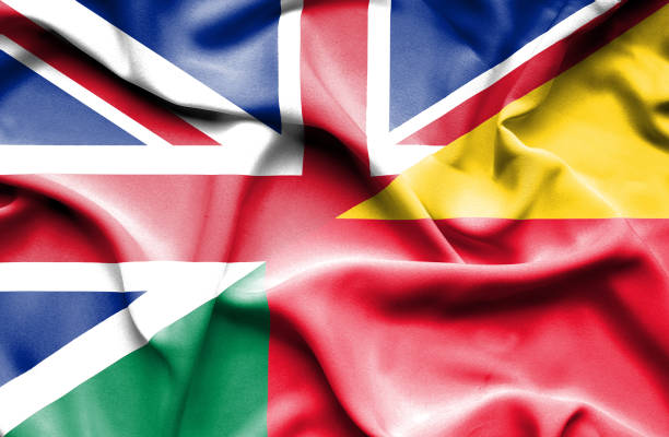 Waving flag of Benin and Great Britain vector art illustration