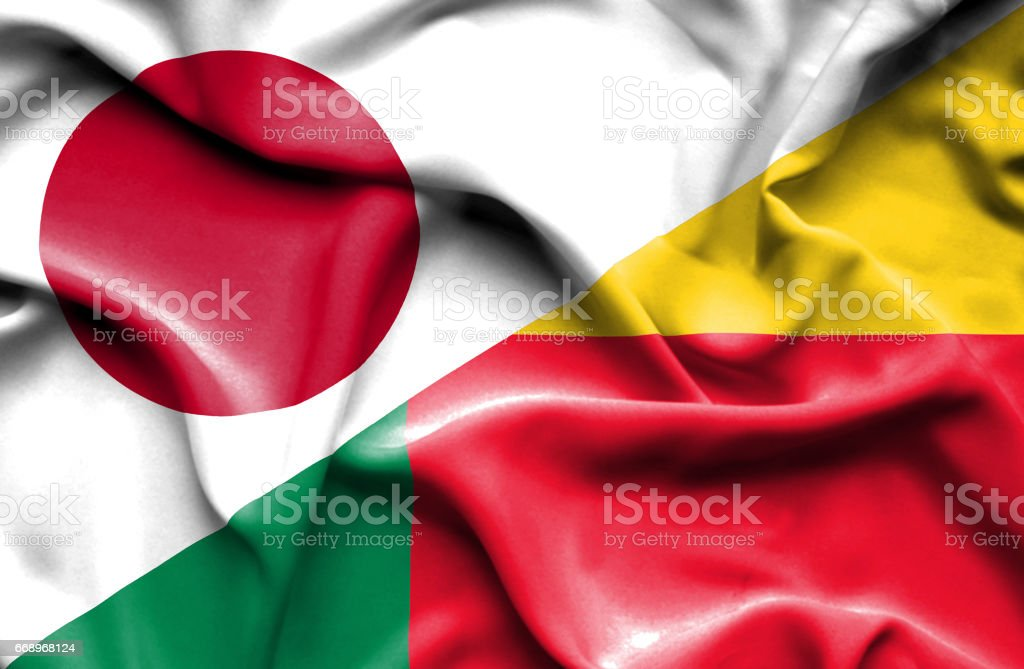 Waving flag of Benin and Japan waving flag of benin and japan - immagini vettoriali stock e altre immagini di accordo d'intesa royalty-free