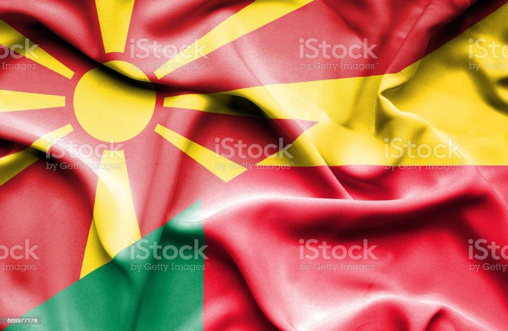 Waving flag of Benin and Macedonia waving flag of benin and macedonia - immagini vettoriali stock e altre immagini di accordo d'intesa royalty-free