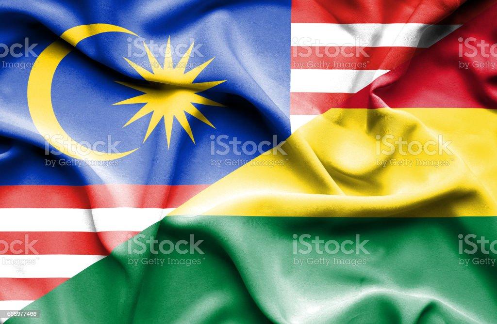 Waving flag of Bolivia and Malaysia waving flag of bolivia and malaysia - immagini vettoriali stock e altre immagini di accordo d'intesa royalty-free