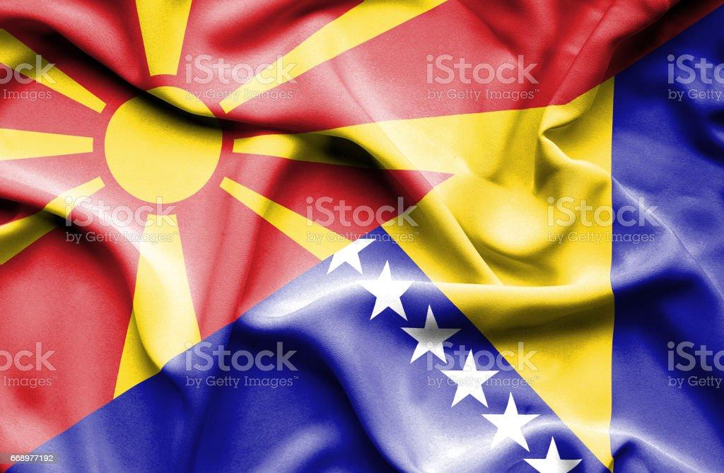 Waving flag of Bosnia and Herzegovina and Macedonia waving flag of bosnia and herzegovina and macedonia - immagini vettoriali stock e altre immagini di accordo d'intesa royalty-free