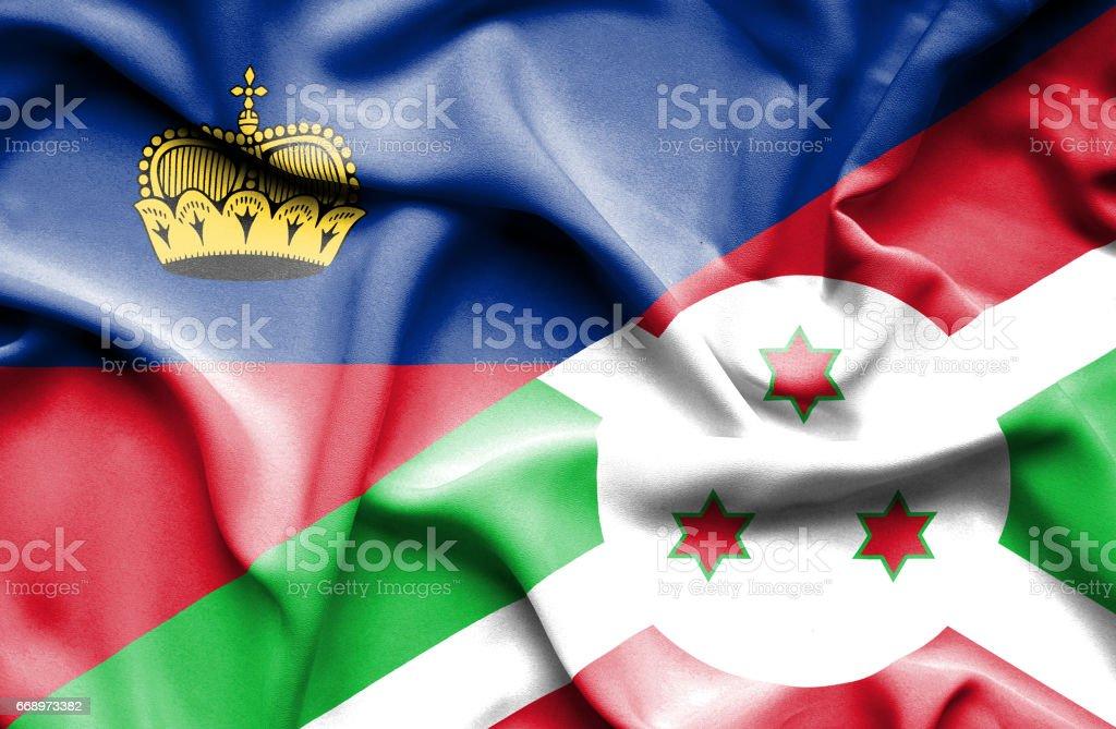 Waving flag of Burundi and Lichtenstein waving flag of burundi and lichtenstein - immagini vettoriali stock e altre immagini di accordo d'intesa royalty-free