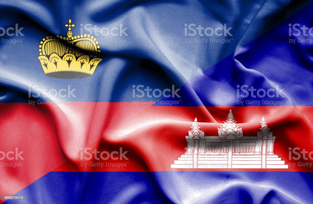 Waving flag of Cambodia and Lichtenstein waving flag of cambodia and lichtenstein - immagini vettoriali stock e altre immagini di accordo d'intesa royalty-free