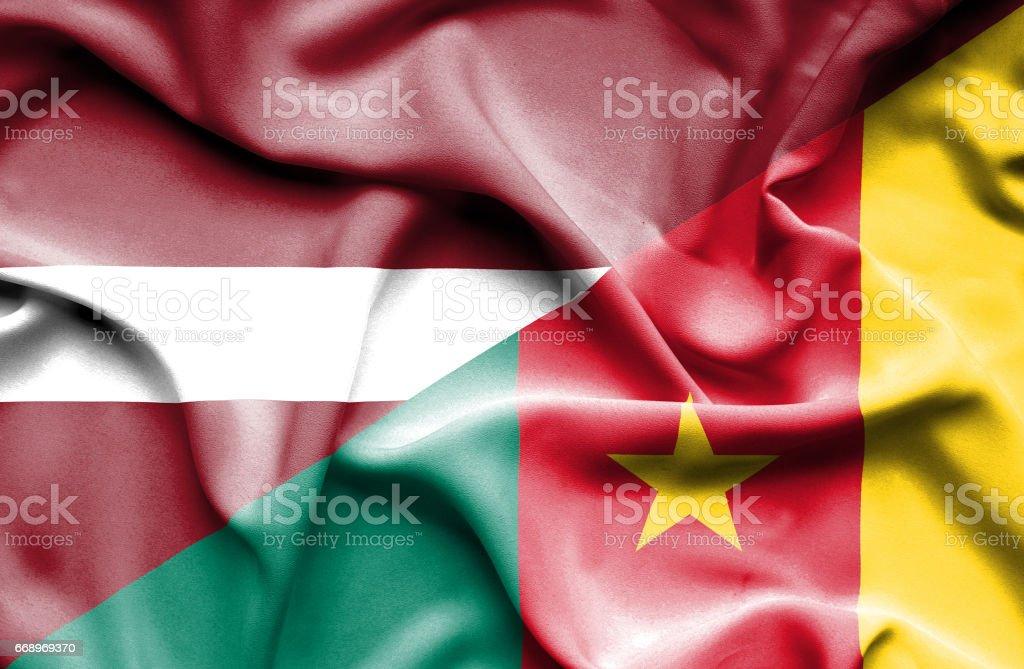 Waving flag of Cameroon and Latvia waving flag of cameroon and latvia - immagini vettoriali stock e altre immagini di accordo d'intesa royalty-free