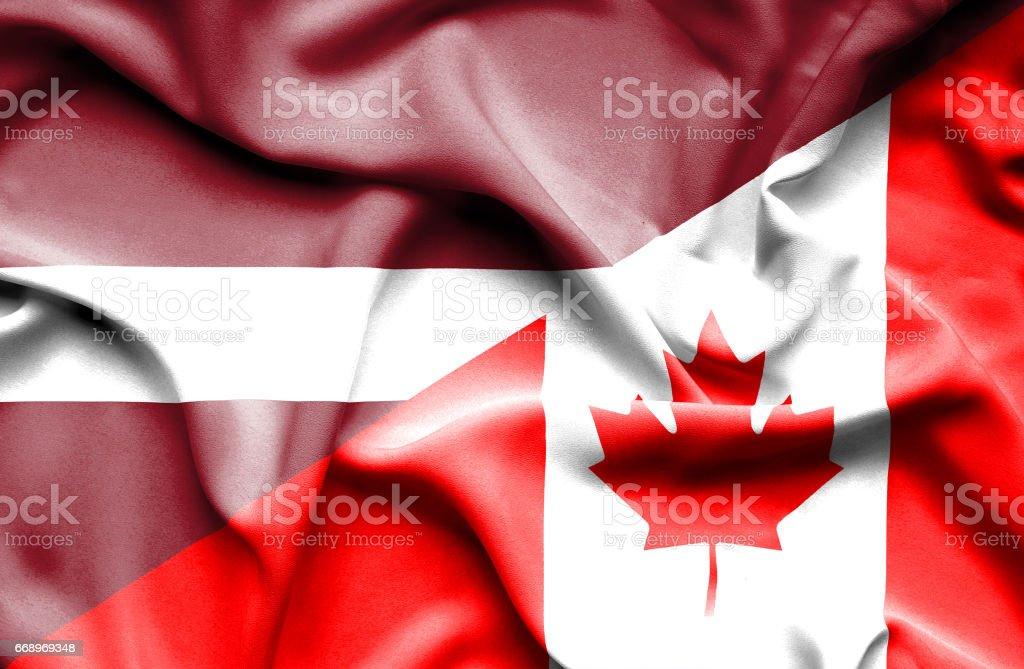Waving flag of Canada and Latvia waving flag of canada and latvia - immagini vettoriali stock e altre immagini di accordo d'intesa royalty-free