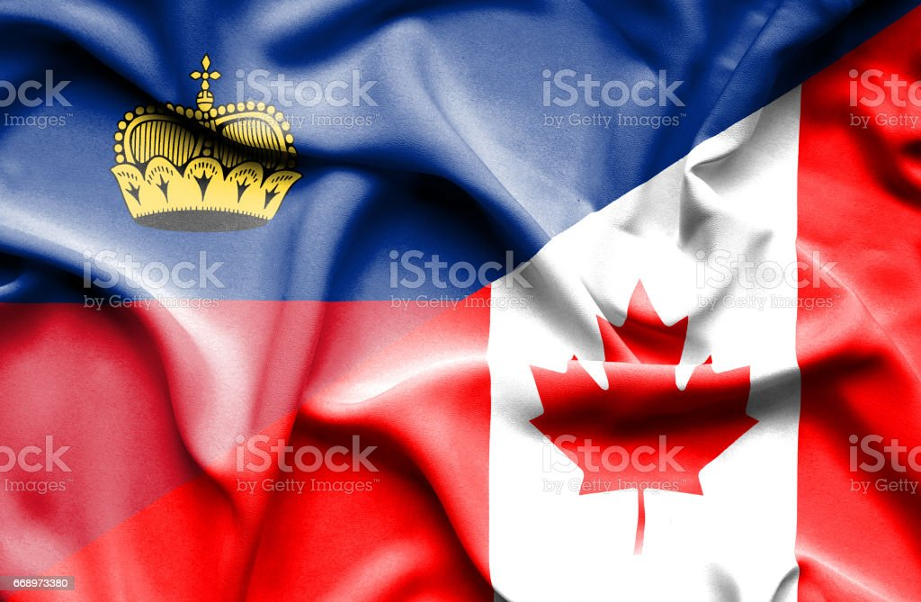 Waving flag of Canada and Lichtenstein waving flag of canada and lichtenstein - immagini vettoriali stock e altre immagini di accordo d'intesa royalty-free