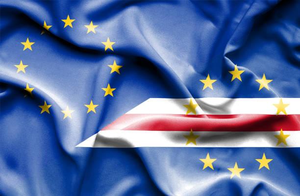 Waving flag of Cape Verde and EU vector art illustration