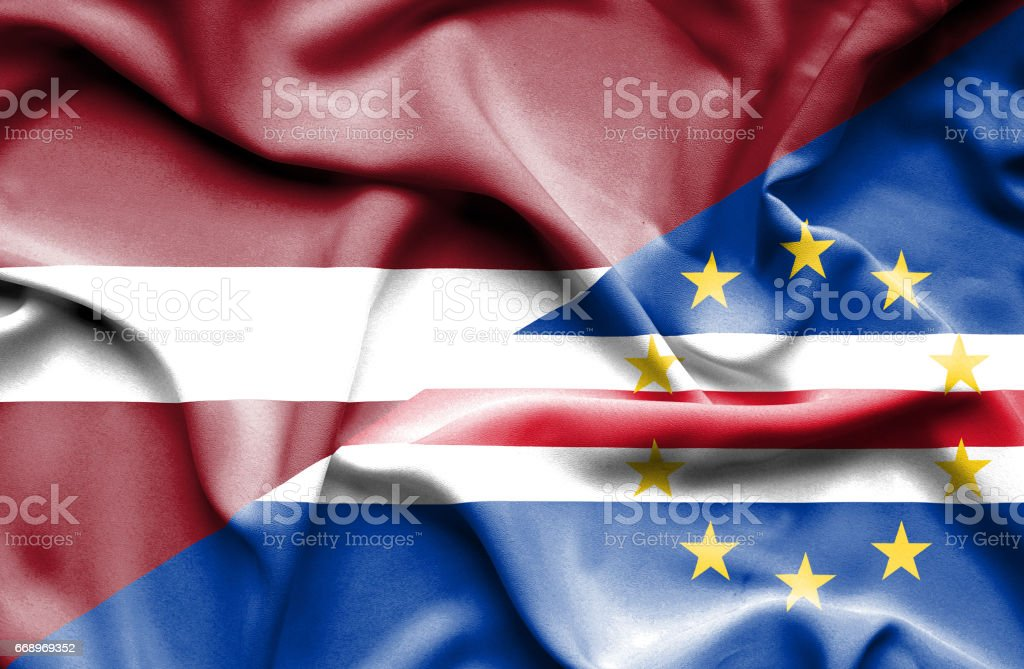 Waving flag of Cape Verde and Latvia waving flag of cape verde and latvia - immagini vettoriali stock e altre immagini di accordo d'intesa royalty-free