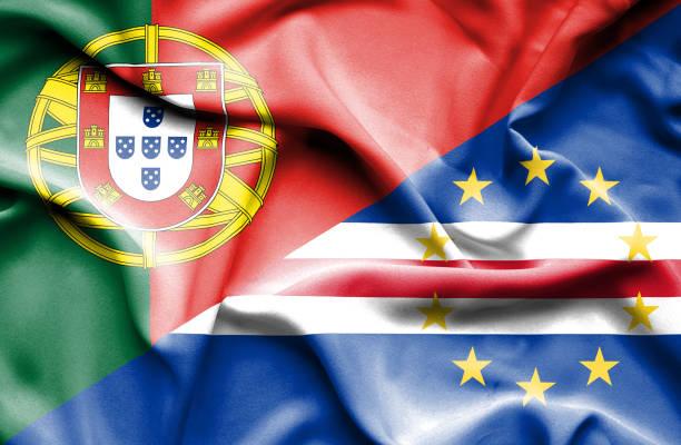 ilustrações de stock, clip art, desenhos animados e ícones de waving flag of cape verde and portugal - cabo verde