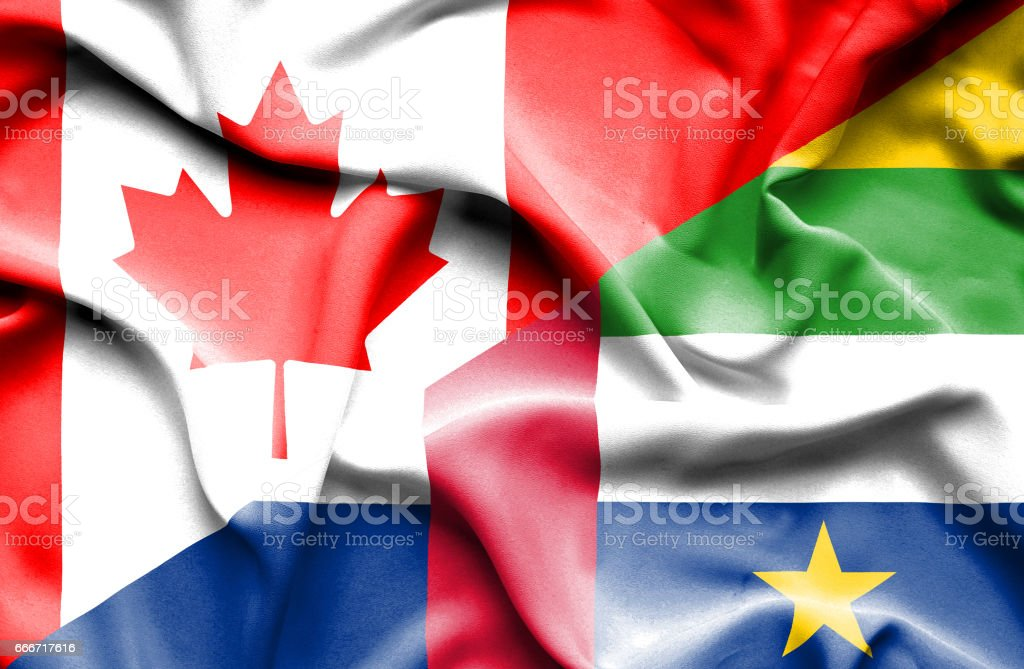 Waving flag of Central African Republic and Canada