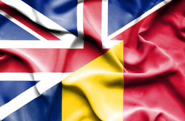 Waving flag of Chad and Great Britain vector art illustration