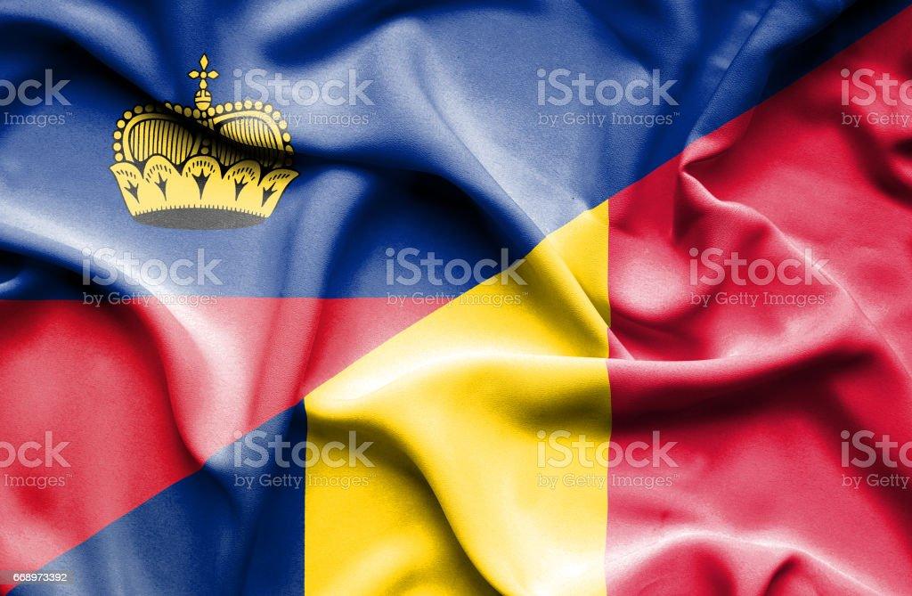 Waving flag of Chad and Lichtenstein waving flag of chad and lichtenstein - immagini vettoriali stock e altre immagini di accordo d'intesa royalty-free