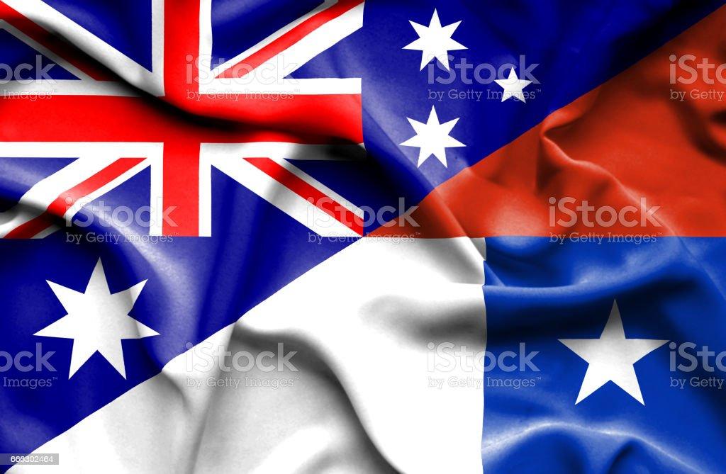 Waving flag of Chile and Australia vector art illustration