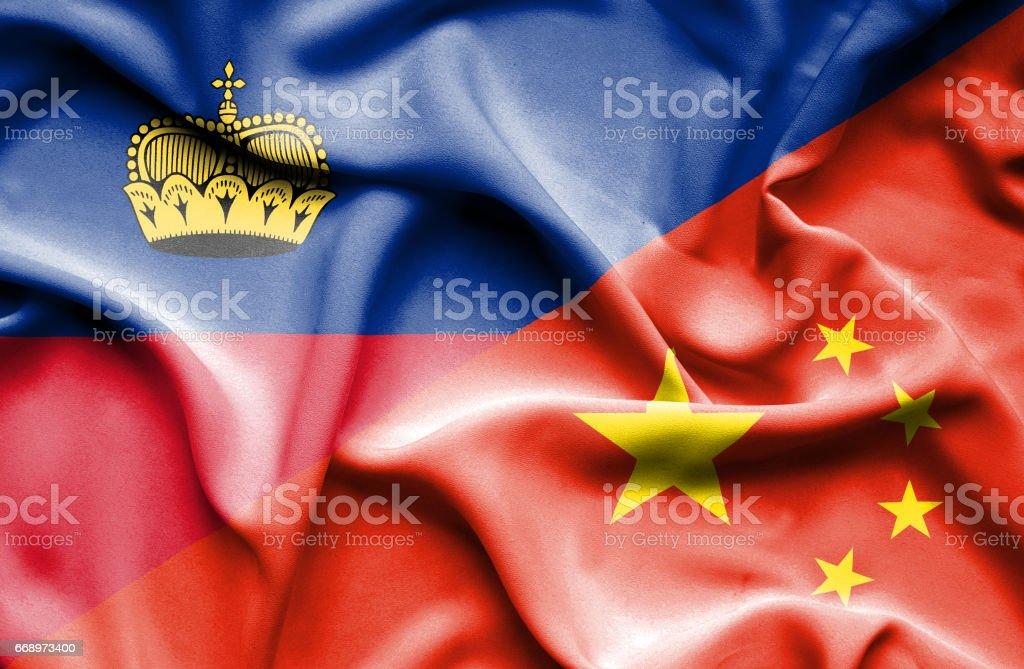 Waving flag of China and Lichtenstein waving flag of china and lichtenstein - immagini vettoriali stock e altre immagini di accordo d'intesa royalty-free
