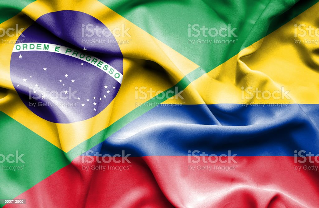 Waving Flag Of Columbia And Brazil Stock Vector Art More Images Of
