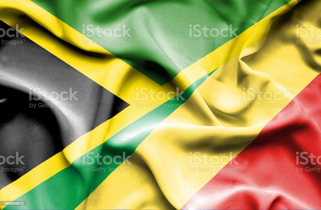 Waving flag of Congo Republic and Jamaica waving flag of congo republic and jamaica - immagini vettoriali stock e altre immagini di accordo d'intesa royalty-free