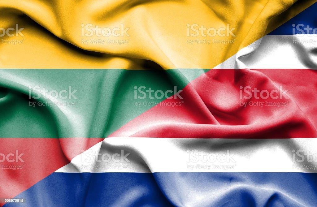 Waving flag of Costa Rica and Lithuania waving flag of costa rica and lithuania - immagini vettoriali stock e altre immagini di accordo d'intesa royalty-free