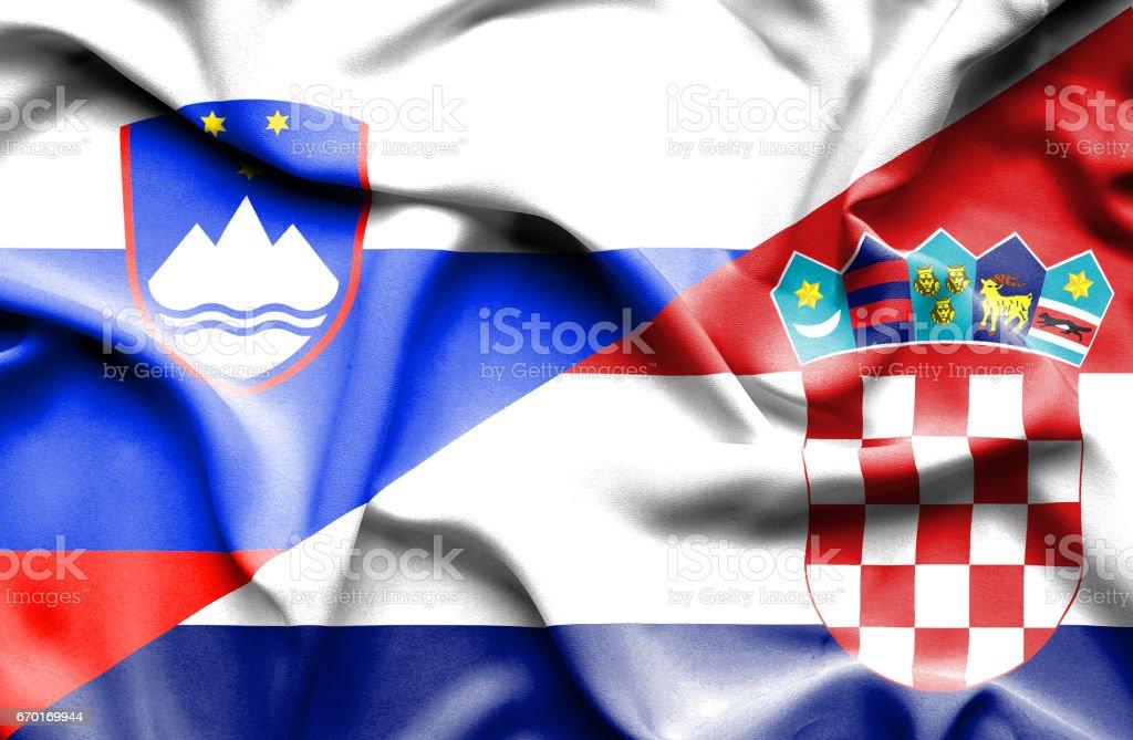 Waving flag of Croatia and Slovenia vector art illustration