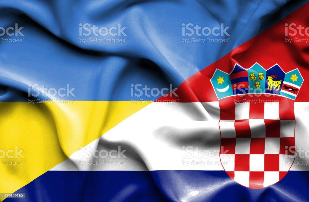 Waving flag of Croatia and Ukraine - ilustración de arte vectorial