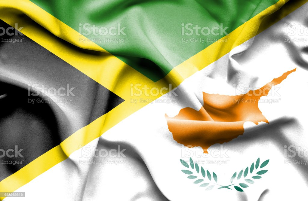 Waving flag of Cyprus and Jamaica waving flag of cyprus and jamaica - immagini vettoriali stock e altre immagini di accordo d'intesa royalty-free