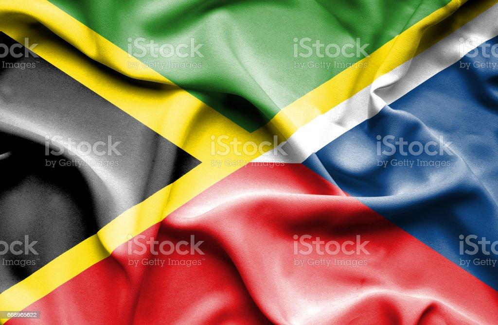 Waving flag of Czech Republic and Jamaica waving flag of czech republic and jamaica - immagini vettoriali stock e altre immagini di accordo d'intesa royalty-free