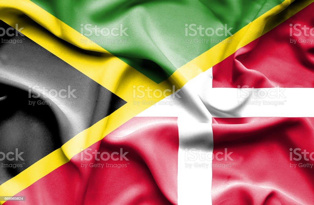Waving flag of Denmark and Jamaica waving flag of denmark and jamaica - immagini vettoriali stock e altre immagini di accordo d'intesa royalty-free