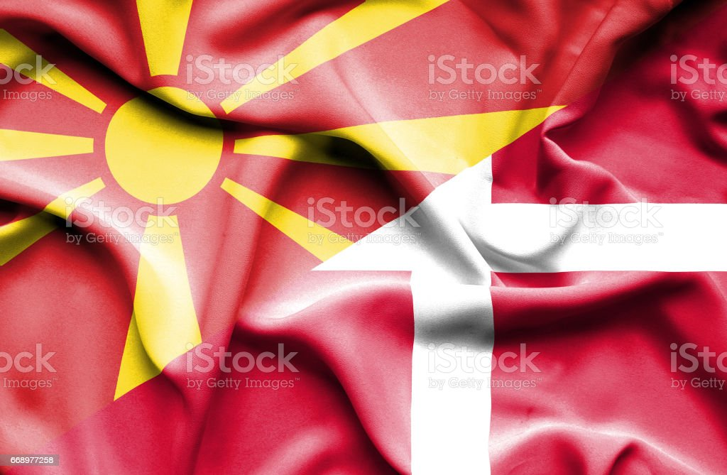 Waving flag of Denmark and Macedonia waving flag of denmark and macedonia - immagini vettoriali stock e altre immagini di accordo d'intesa royalty-free