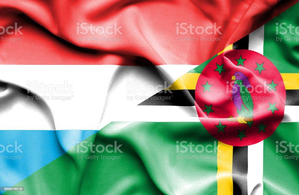 Waving flag of Dominica and Luxembourg waving flag of dominica and luxembourg - immagini vettoriali stock e altre immagini di accordo d'intesa royalty-free