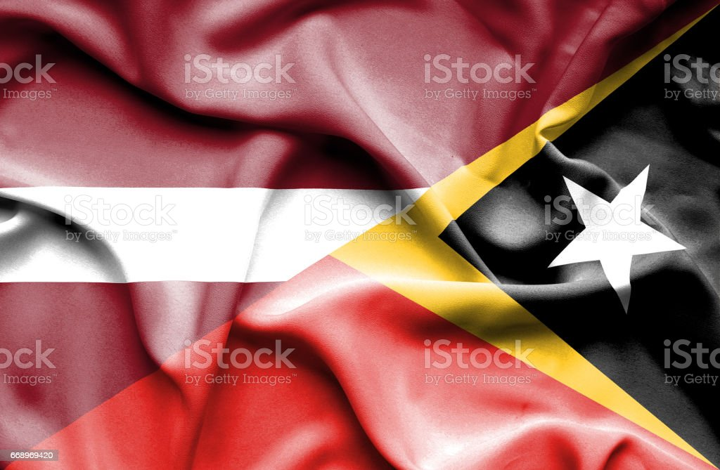 Waving flag of East Timor and Latvia waving flag of east timor and latvia - immagini vettoriali stock e altre immagini di accordo d'intesa royalty-free