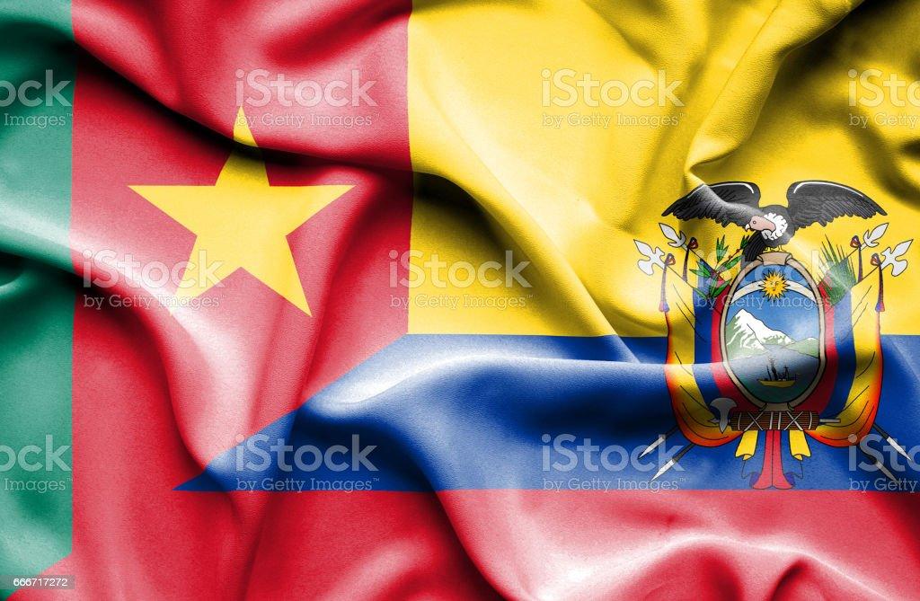 Waving flag of Ecuador and Cameroon - ilustração de arte em vetor