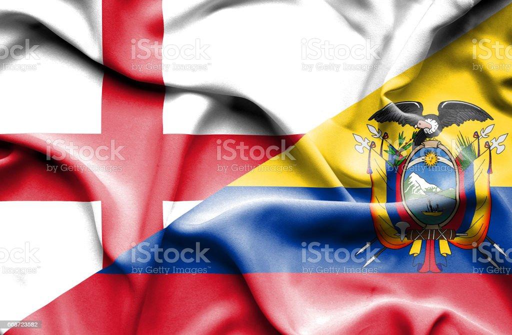 Bandeira do Equador e da Inglaterra - ilustração de arte em vetor
