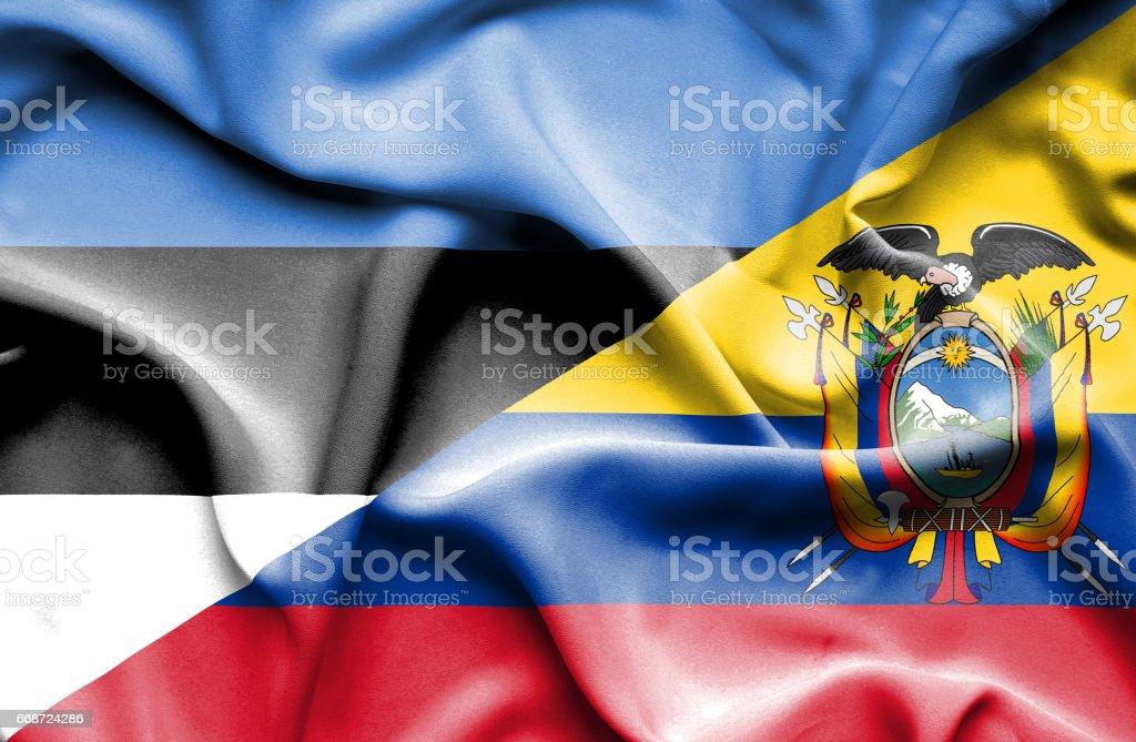 Waving flag of Ecuador and Estonia - ilustração de arte em vetor