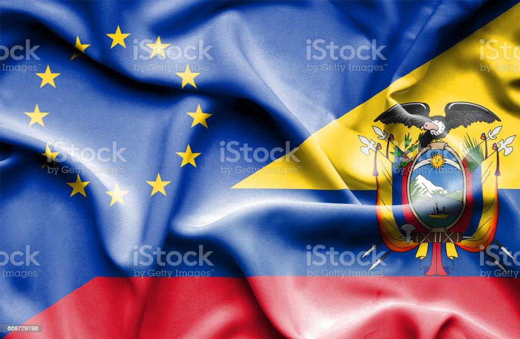 Waving flag of Ecuador and EU - ilustração de arte em vetor