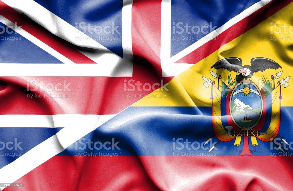 Waving flag of Ecuador and Great Britain - ilustração de arte em vetor