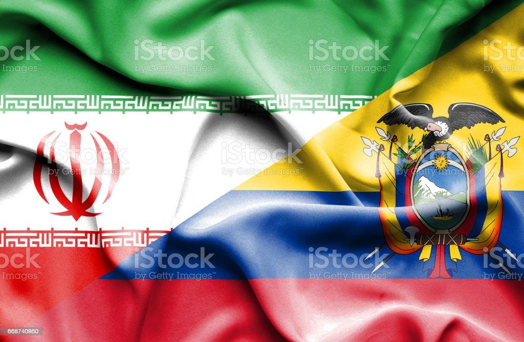 Waving flag of Ecuador and Iran - Illustration vectorielle