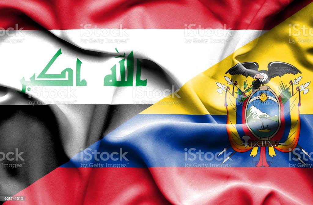 Waving flag of Ecuador and Iraq - Illustration vectorielle