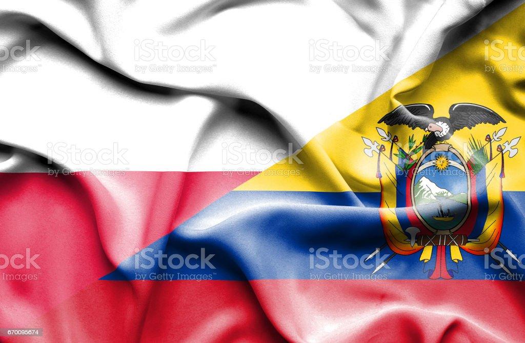 Waving flag of Ecuador and Poland - ilustração de arte em vetor