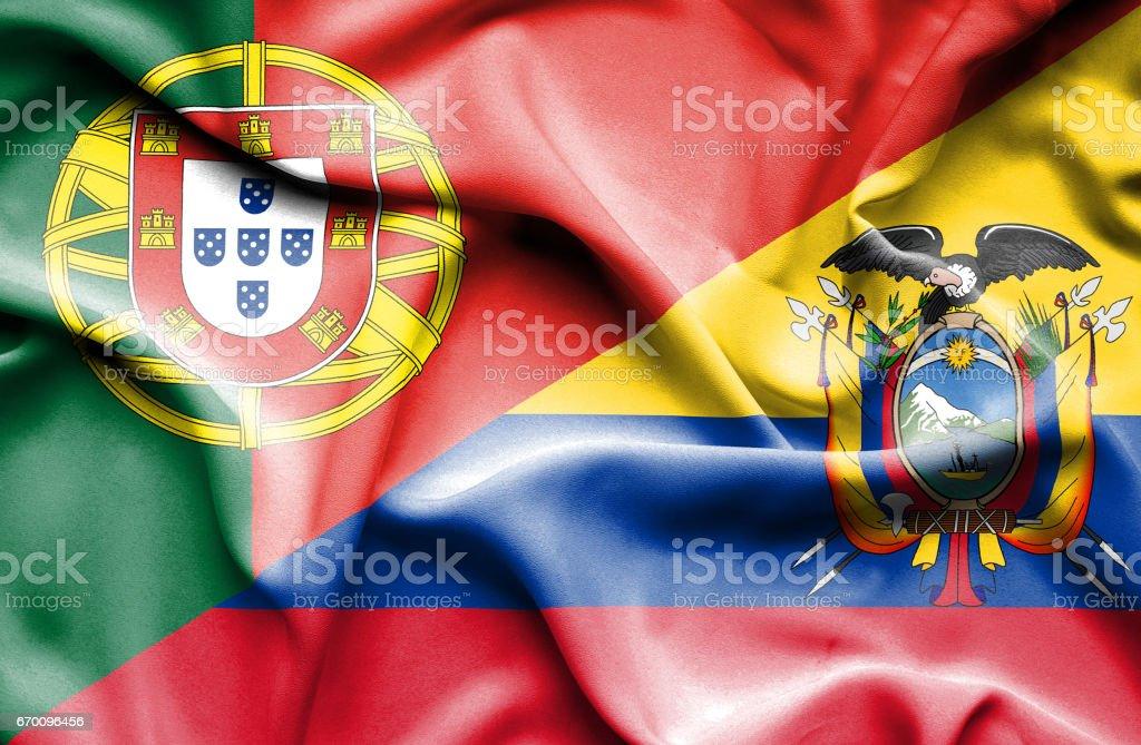 Bandeira do Equador e Portugal - ilustração de arte em vetor