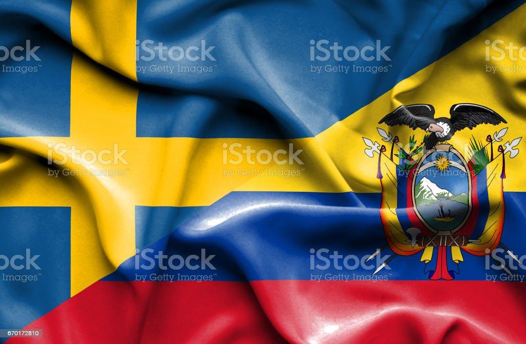 Waving flag of Ecuador and Sweden - ilustração de arte em vetor
