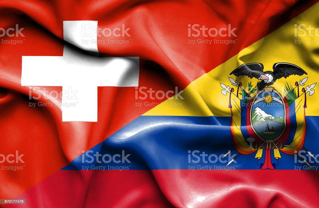 Waving flag of Ecuador and Switzerland - ilustração de arte em vetor