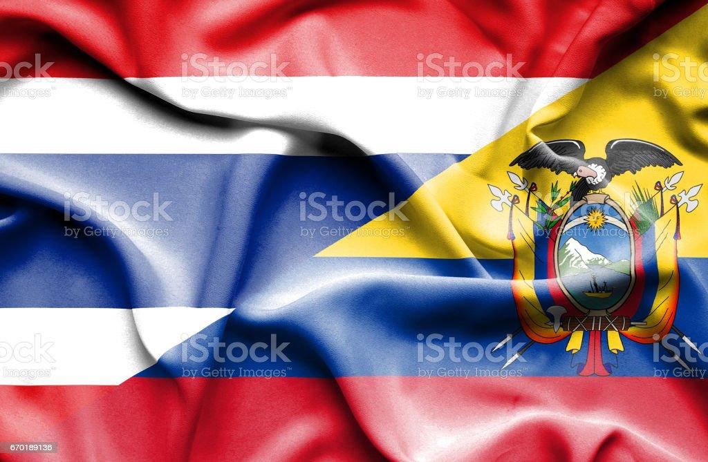 Waving flag of Ecuador and Thailand - Illustration vectorielle