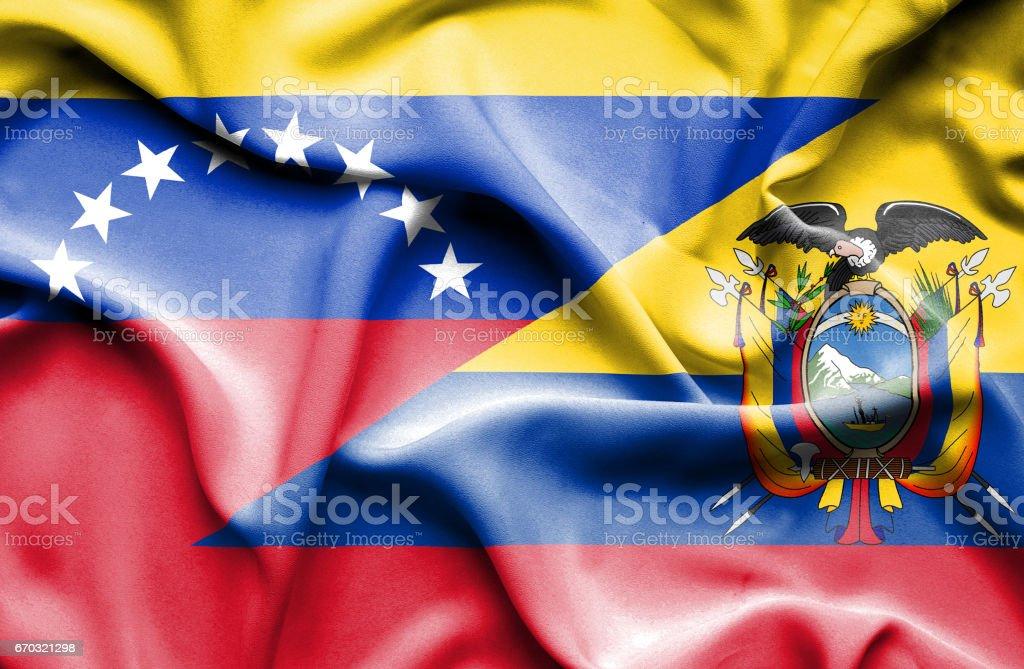 Waving flag of Ecuador and Venezuela - ilustração de arte em vetor
