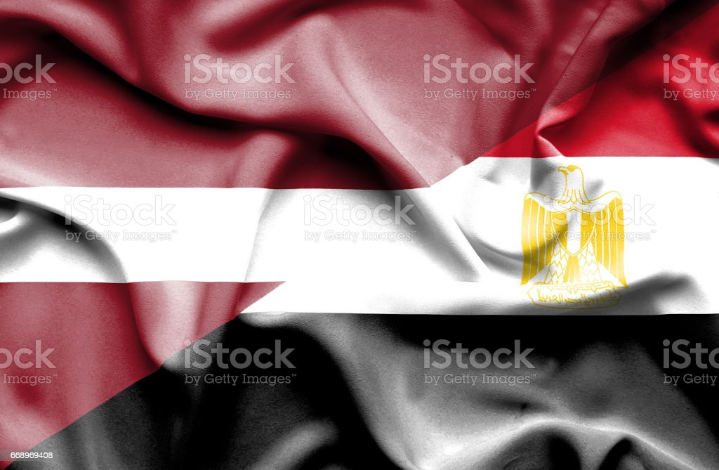 Waving flag of Egypt and Latvia waving flag of egypt and latvia - immagini vettoriali stock e altre immagini di accordo d'intesa royalty-free