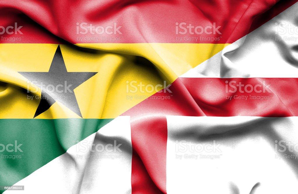 Waving flag of England and Ghana - ilustración de arte vectorial