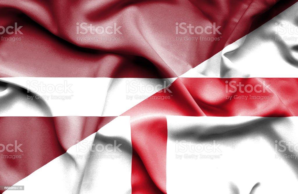 Waving flag of England and Latvia waving flag of england and latvia - immagini vettoriali stock e altre immagini di accordo d'intesa royalty-free