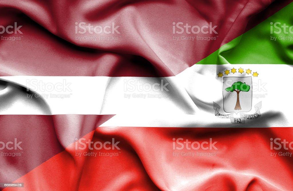 Waving flag of Equatorial Giuinea and Latvia waving flag of equatorial giuinea and latvia - immagini vettoriali stock e altre immagini di accordo d'intesa royalty-free